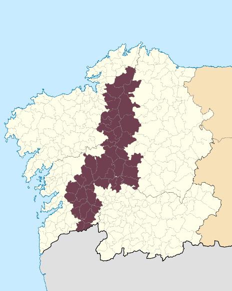 Mapa de situación de Dorsal Central Galega