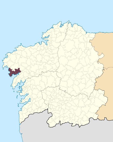 Mapa de situación de Montes do Pindo, Forcada e Louro