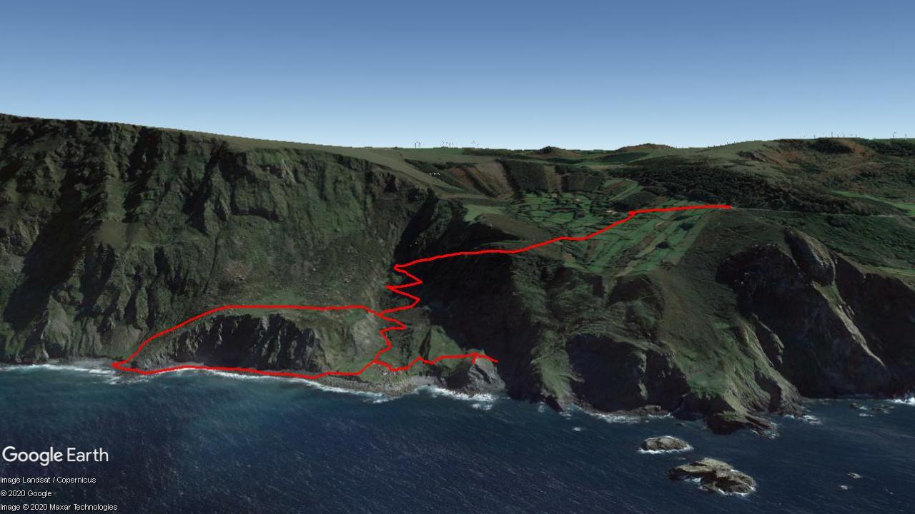 Mapa del recorrido Praia de Teixidelo