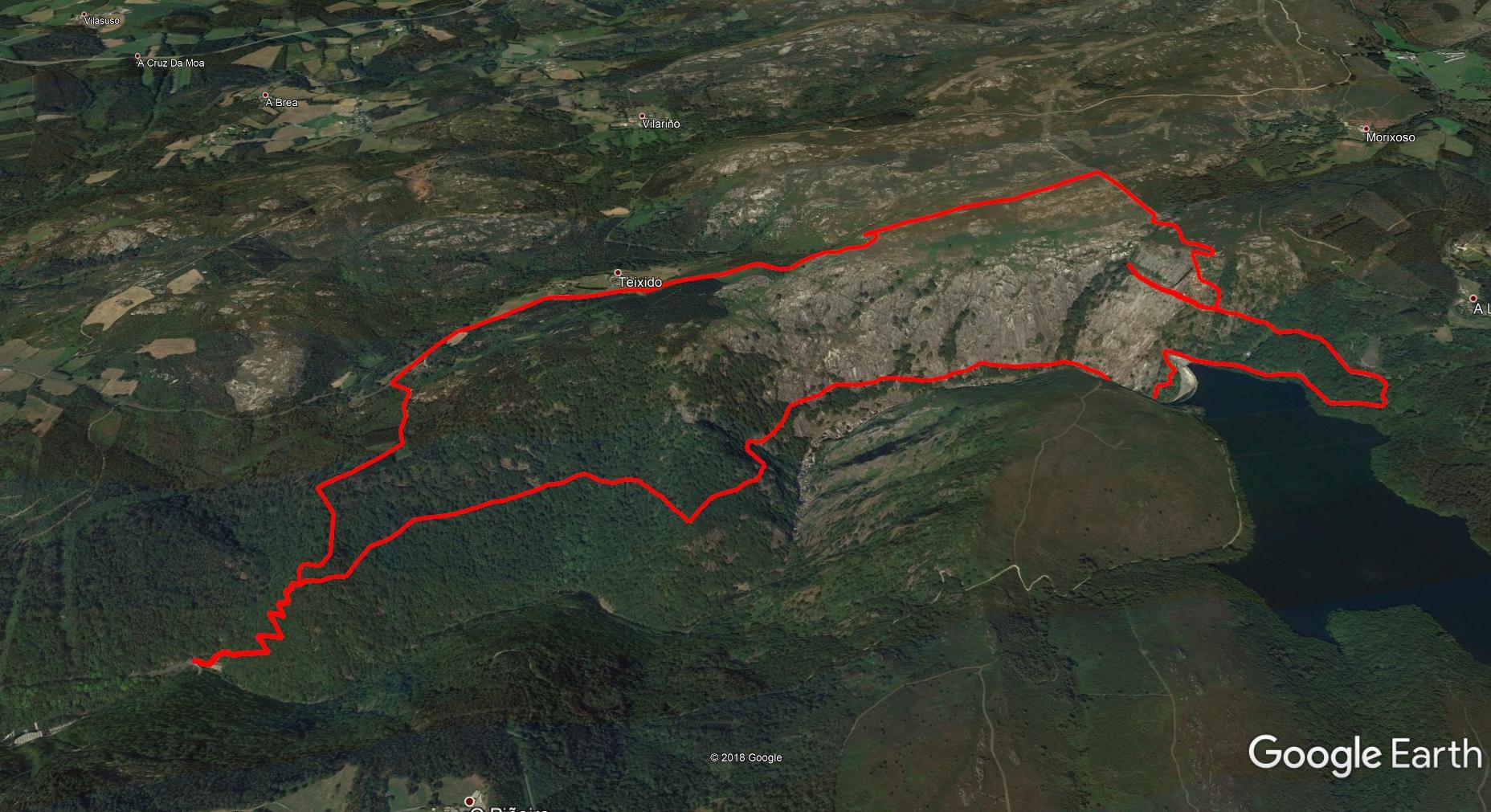 Mapa del recorrido Cañón do Eume